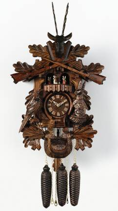 "(21"") Hunter's clock w/ live animals"
