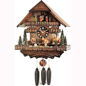 "(16"") Cottage with seesawing and revolving bears"